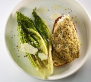 Food photography garlic herb tilapia and seared lettuce