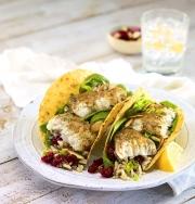 food photography garlic herb fish tacos