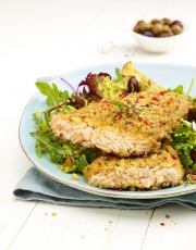 food photography breaded salmon with lettuce