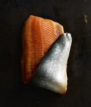 food photography salmon arctic char skin and flesh folded