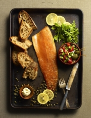 Food photography arctic char fish bread olive oil bread vegetables