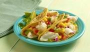 Food photography cod fish tacos corn tomato