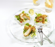 Food photography fish strips appetizer salad glass plate