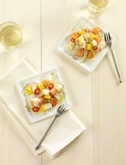 food photography fish and vegetable appetizer with wine