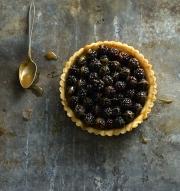 Food photography baked berry pie tart caramel sauce