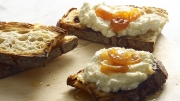 food photography ricotta cheese on toast breakfast