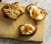 ricotta cheese and apricots on toast