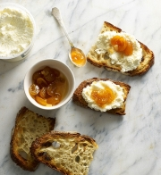 ricotta cheese and apricots on breakfast toast