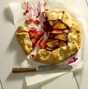 Food photography eating a plum dessert pie tart