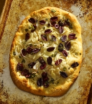 Food photography pizza olives onions baked