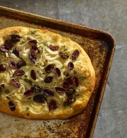 Food photography baked pizza olives onions
