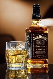 jack daniels bottle and glass still life