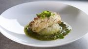 food photography sauced fish on pea aioli mash