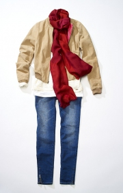 photography timberland woman jeans scarf shirt jacket