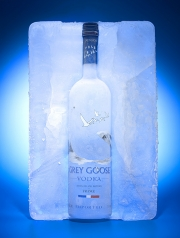grey goose vodka frozen ice block frosty