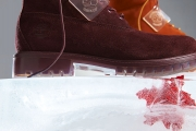 suede timberland boots on ice