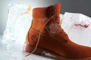 orange suede timberland boots on ice