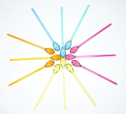colorful clear plastic spoons as a sun