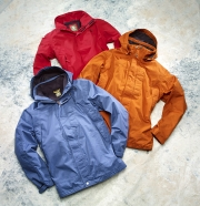 photography timberland rain coats red orange blue